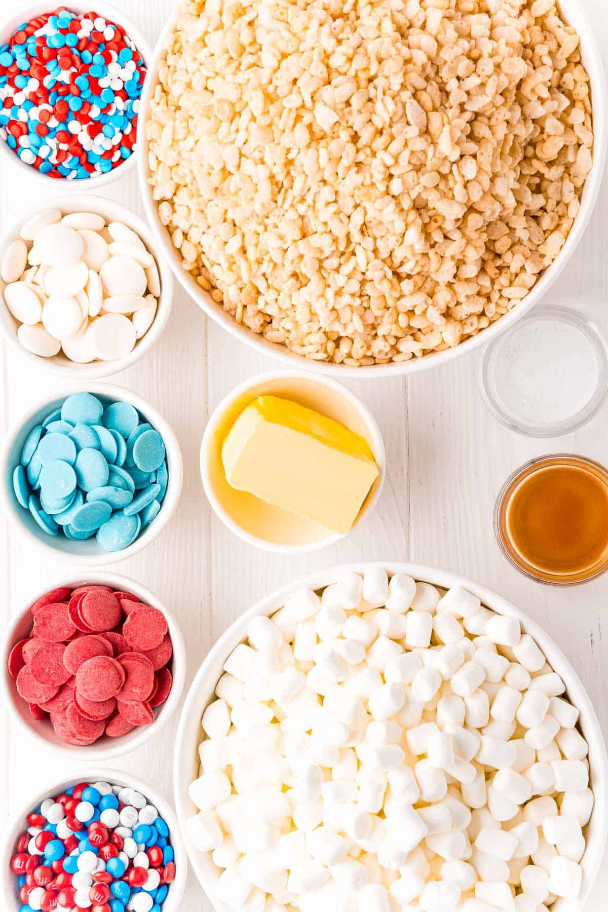 Ingredients needed for red white and blue rice krispie treats.