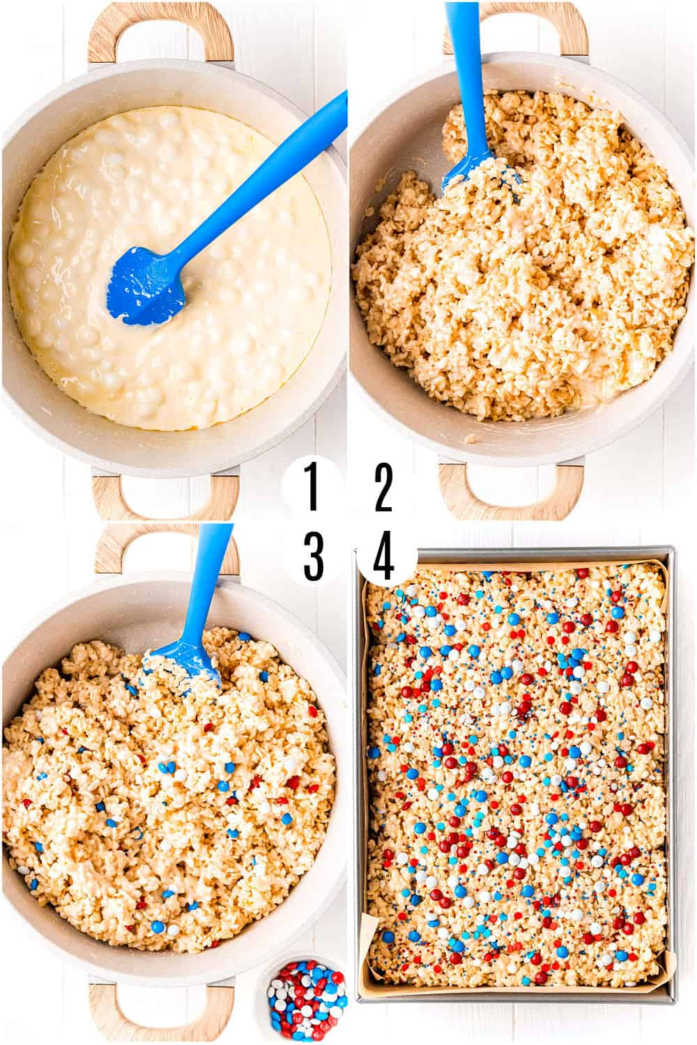 Step by step photos showing how to make red white and blue rice krispy treats.