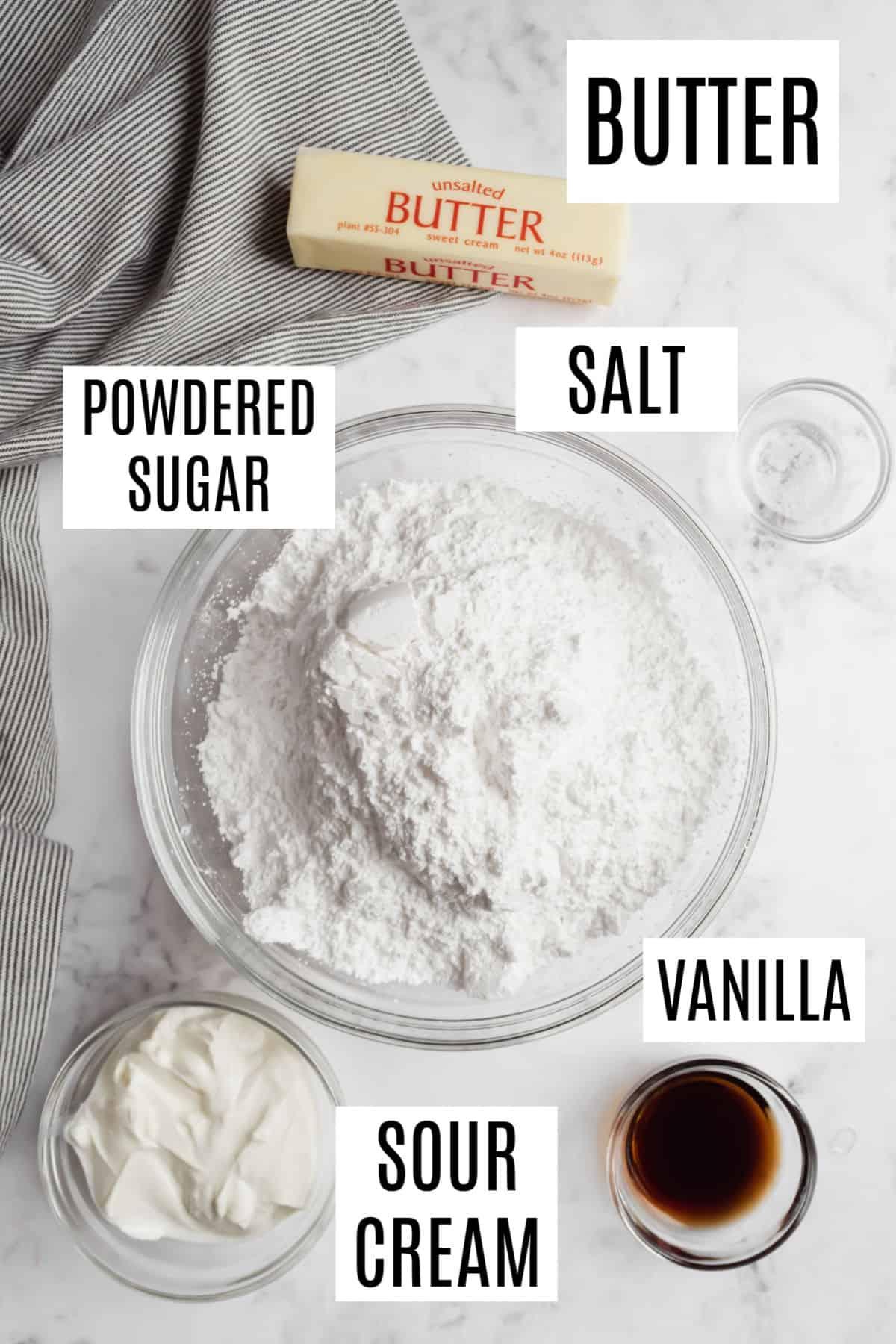 Ingredients needed to make sour cream vanilla frosting recipe.