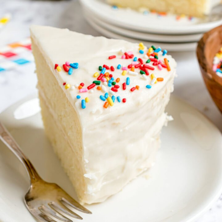 Sour cream frosted layer cake.