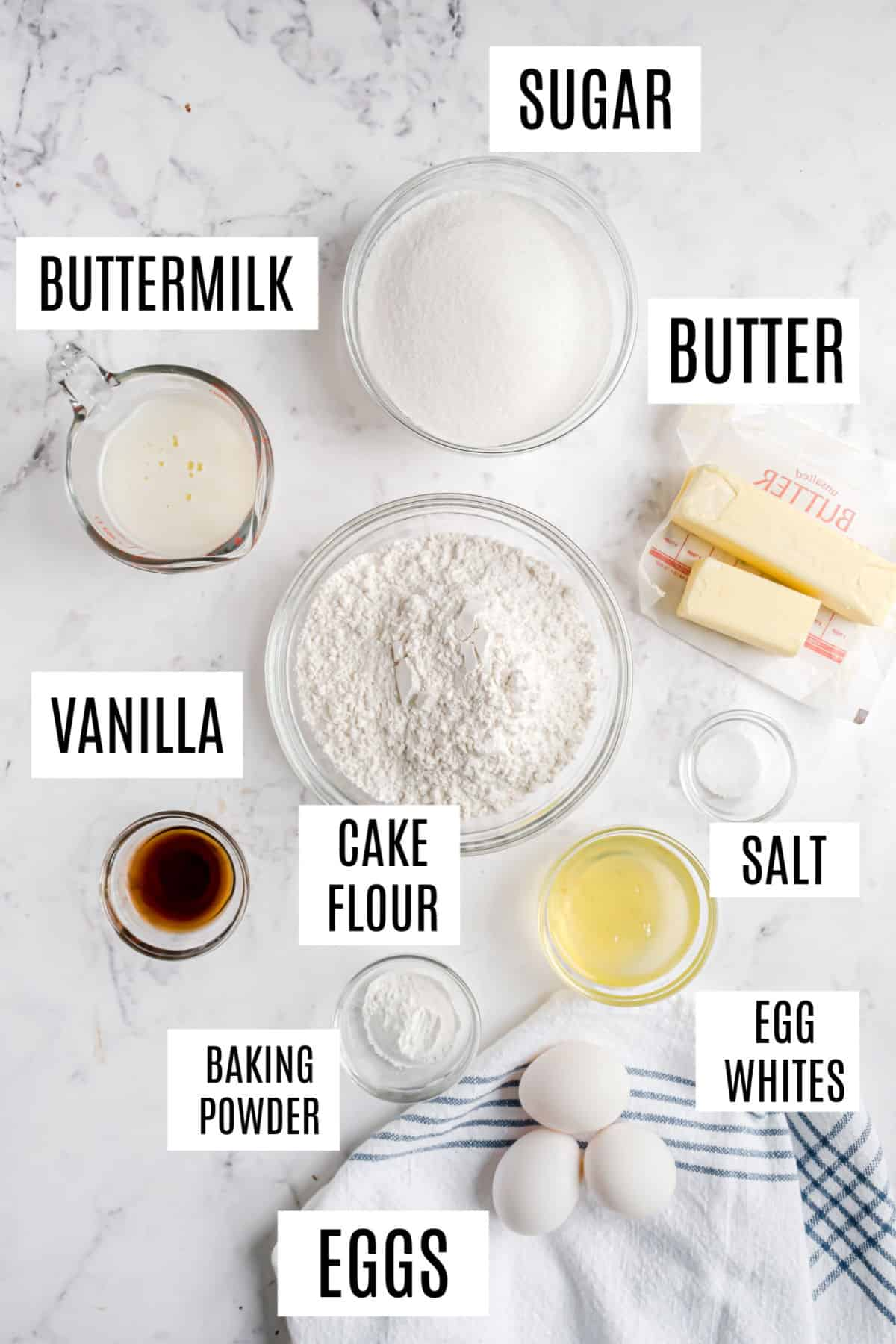 Ingredients needed to make vanilla layer cake.