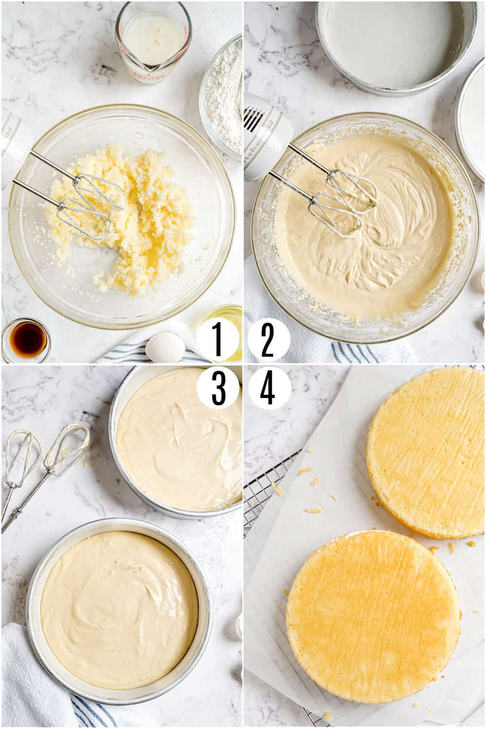 Step by step photos showing how to make the best vanilla cake recipe.