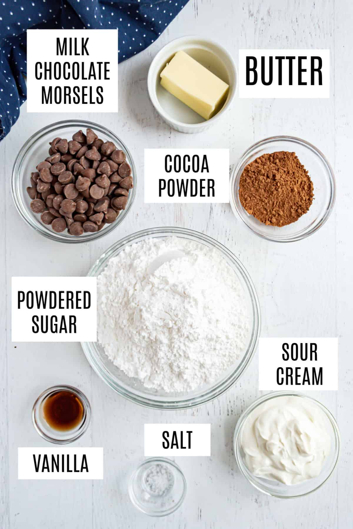 Ingredients needed for chocolate sour cream frosting.