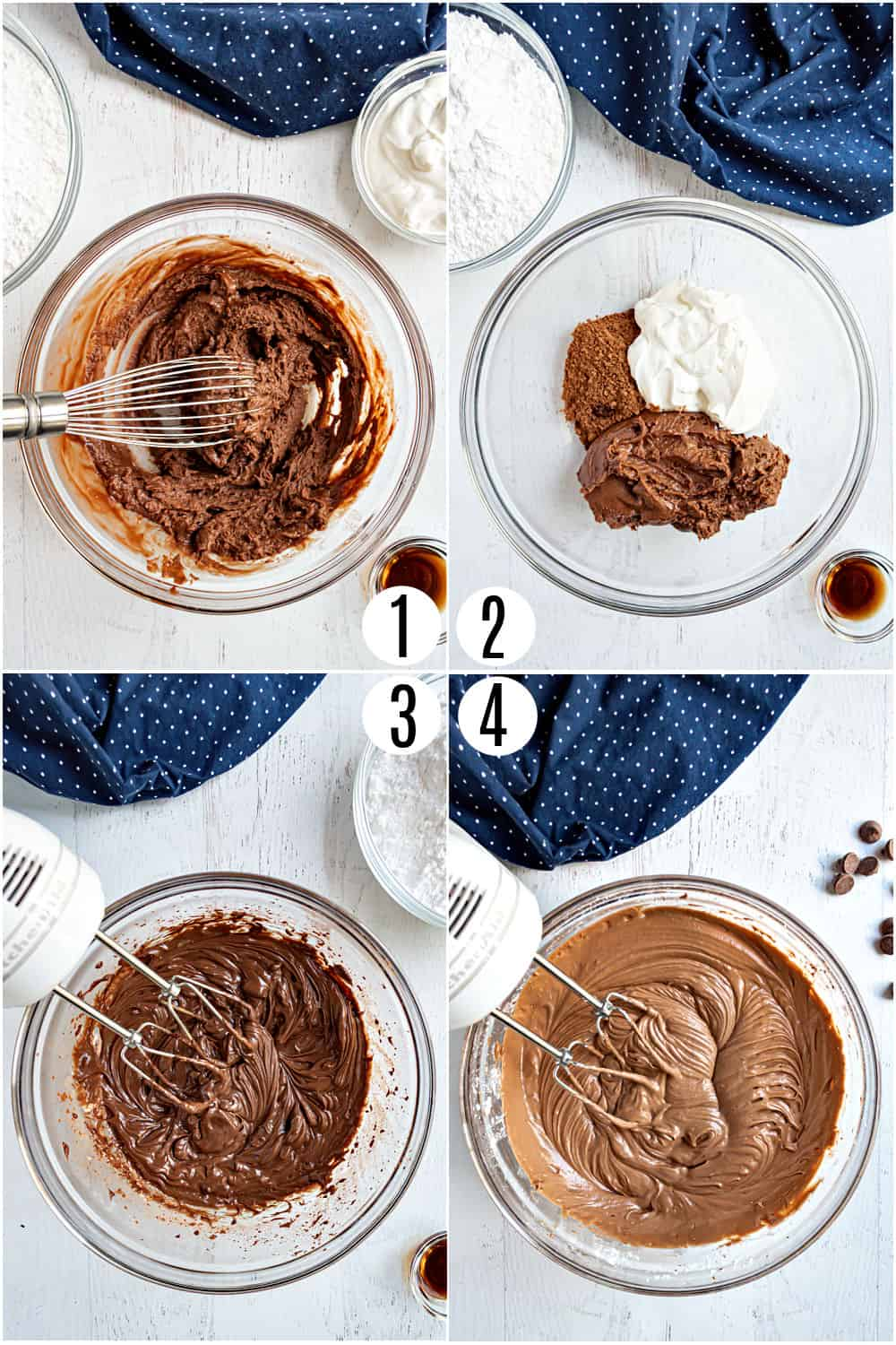 Step by step photos showing how to make chocolate sour cream frosting.
