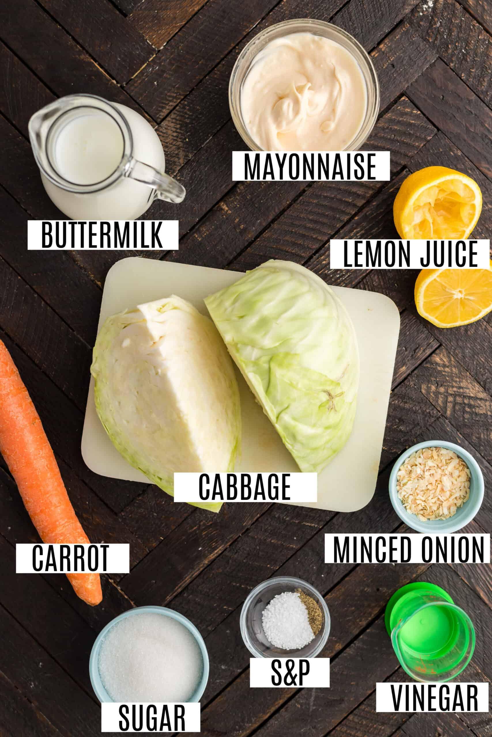 Ingredients needed for copycat KFC coleslaw recipe.