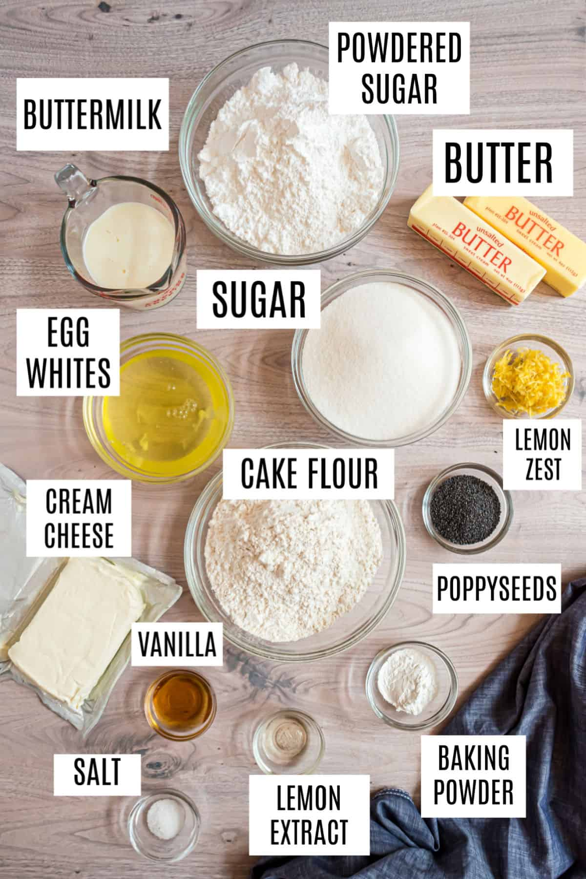 Ingredients needed to make a 13x9 pan of lemon poppy seed cake.