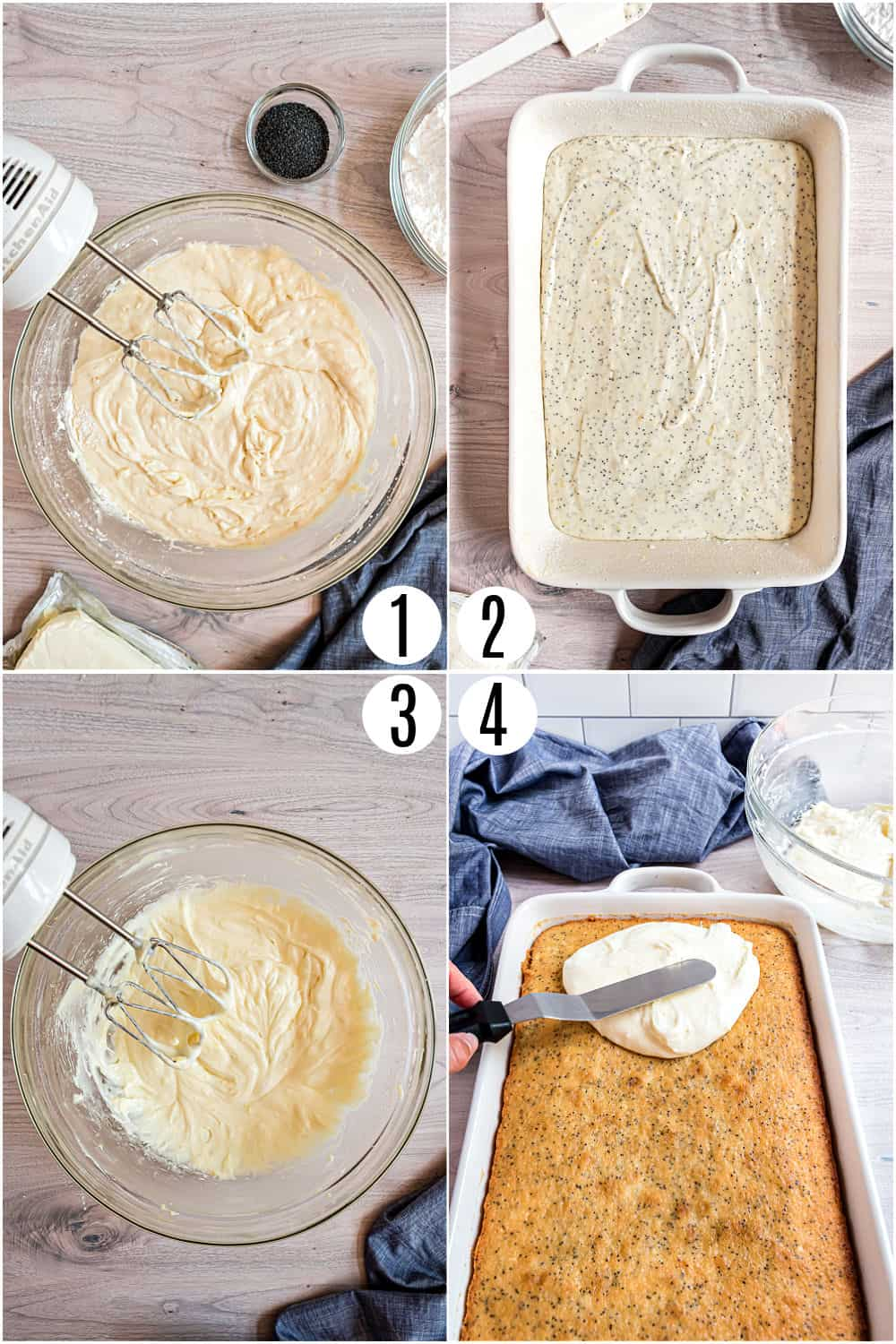 Step by step photos showing how to make lemon poppy seed cake from scratch.