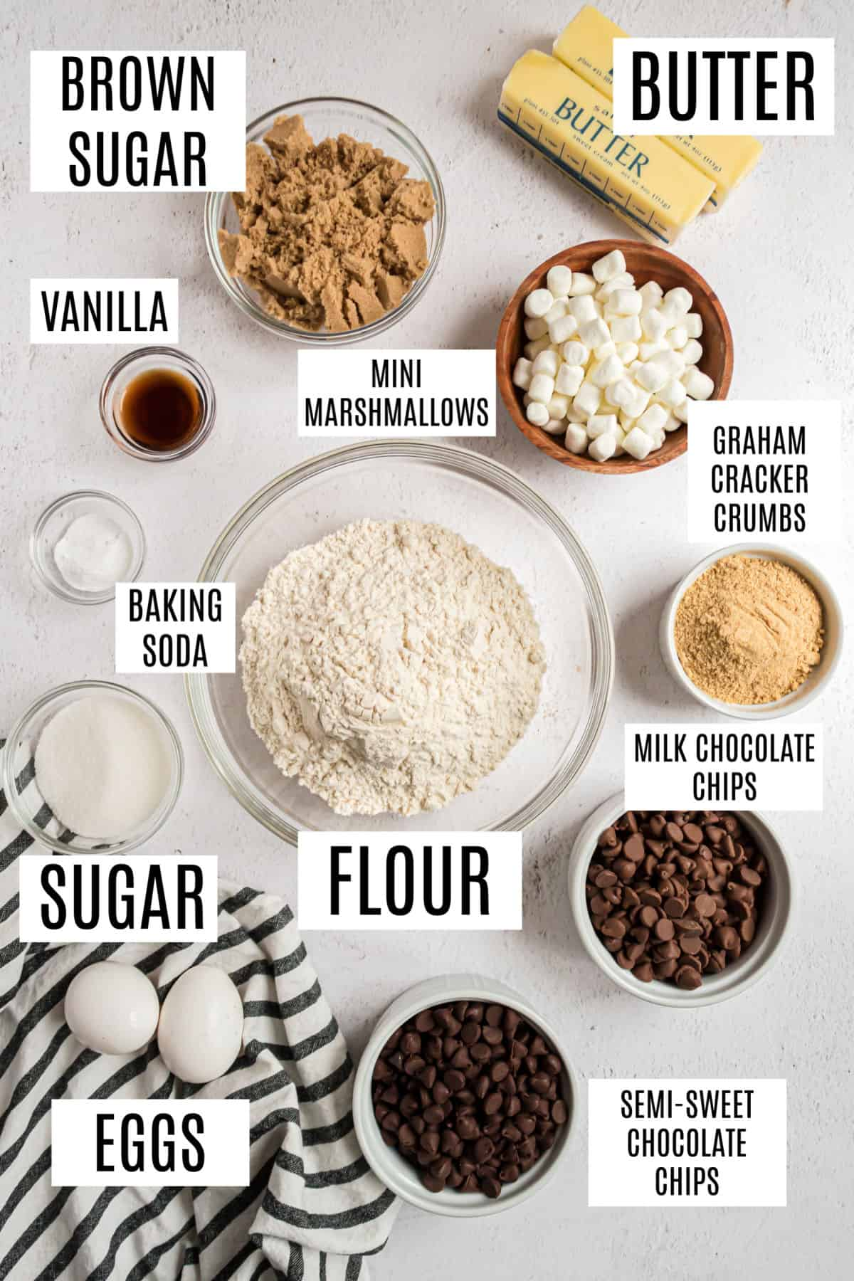 Ingredients needed for s'mores stuffed chocolate chip cookies.