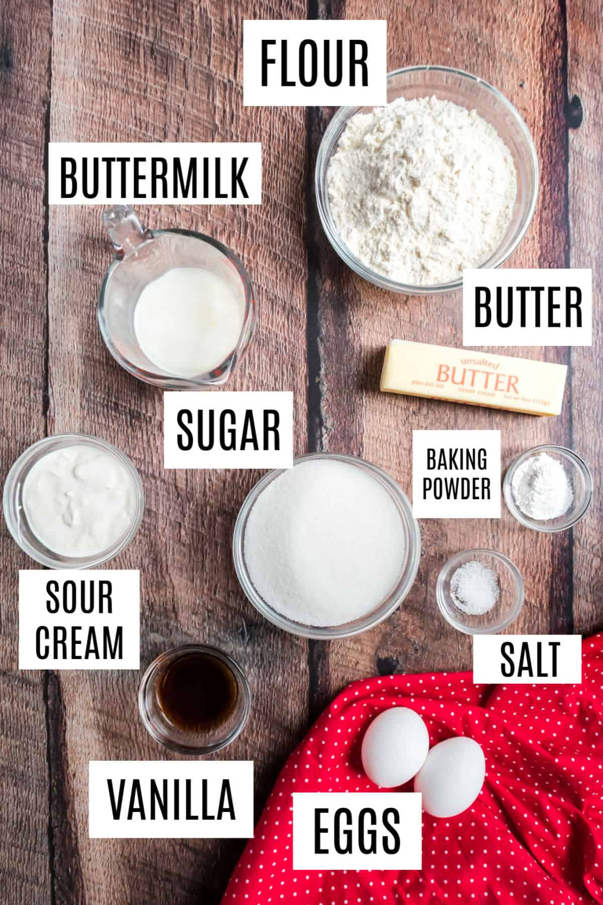 Ingredients needed to make homemade yellow cupcakes.