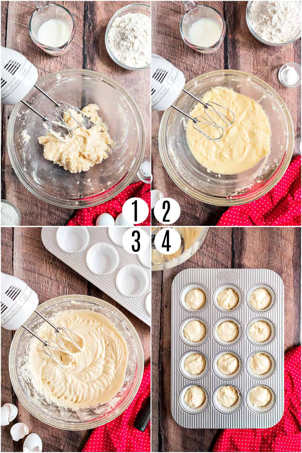 Step by step photos showing how to make yellow cupcakes.