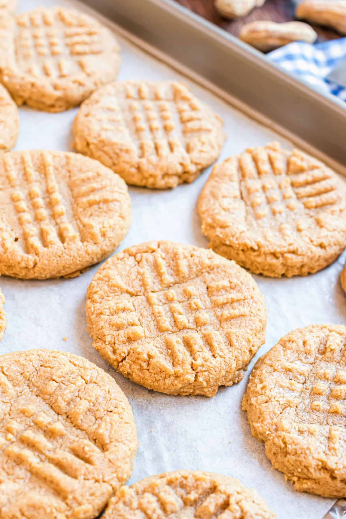 Peanut butter cookies on a parchment paper lined cookie sheet.