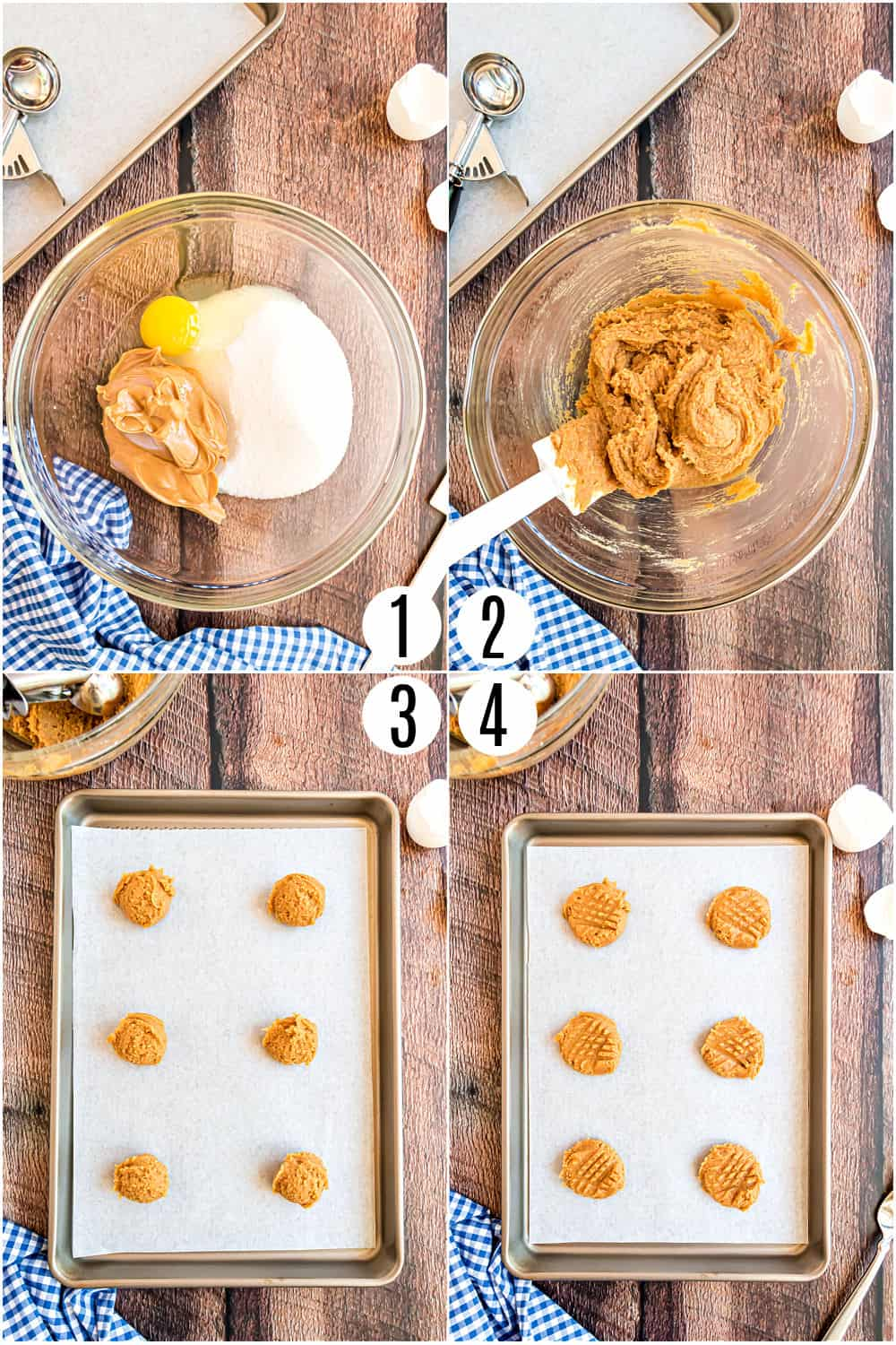 Step by step photos showing how to make peanut butter cookies with three ingredients.