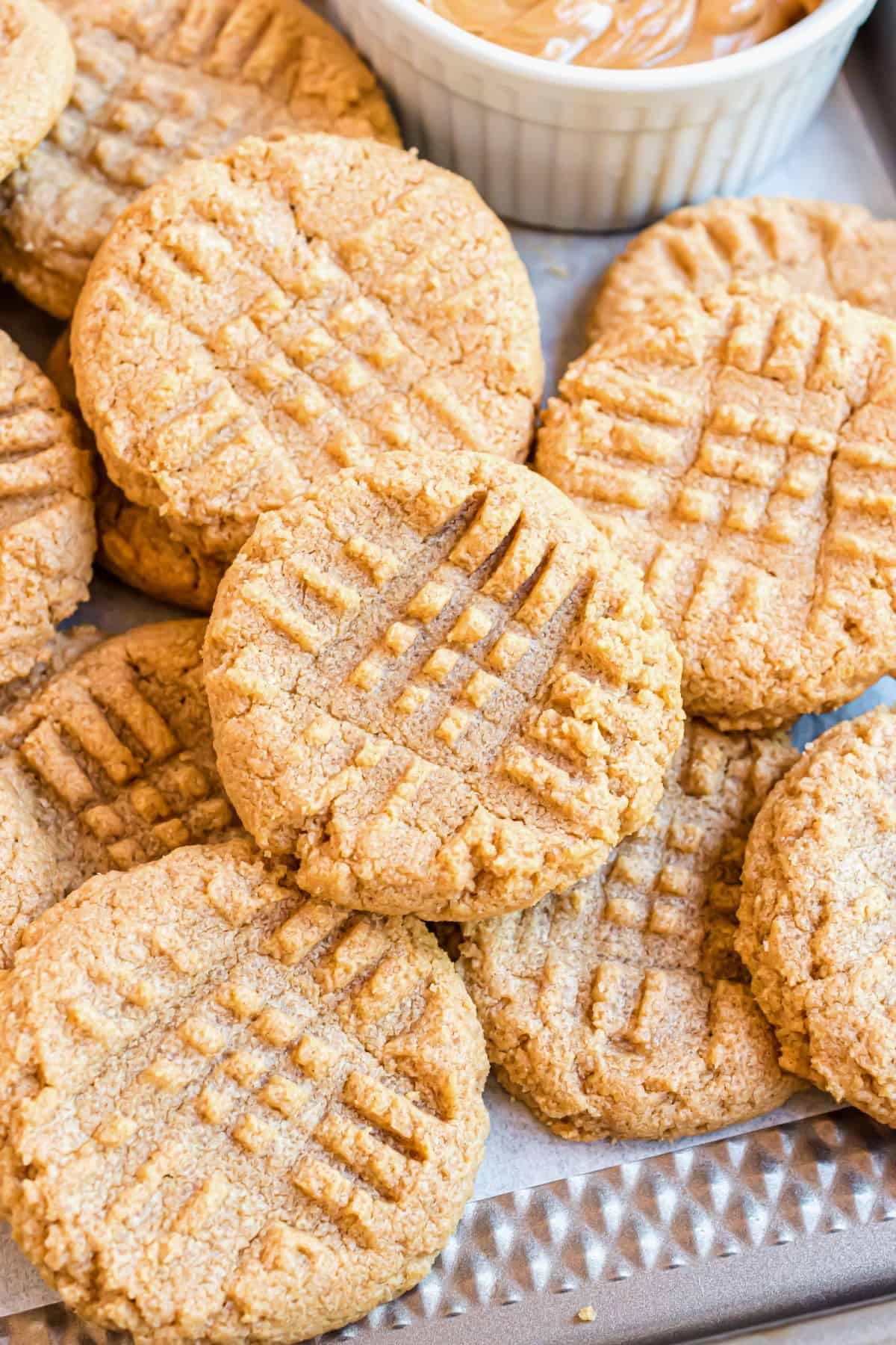 Peanut butter cookies served in a stack.