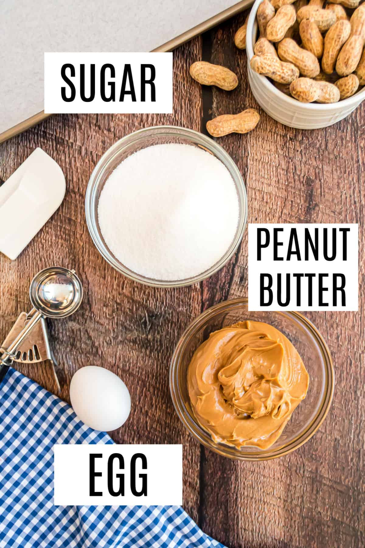 Only 3 ingredients needed for peanut butter cookies.
