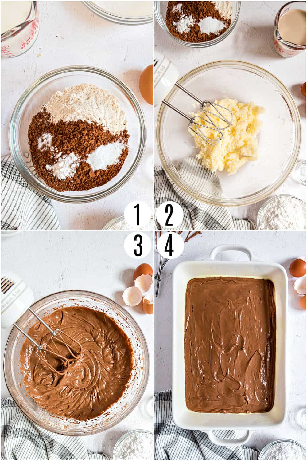 Step by step photos showing how to make chocolate cake in a 13x9 dish.