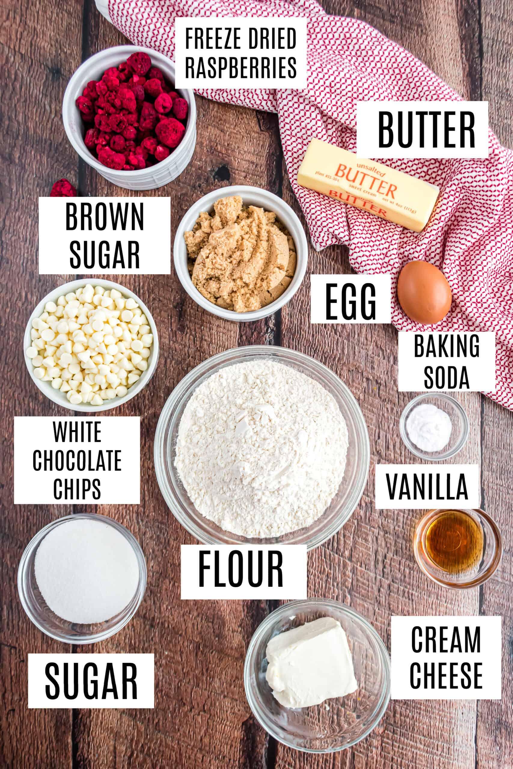 Ingredients needed for raspberry cheesecake cookies.
