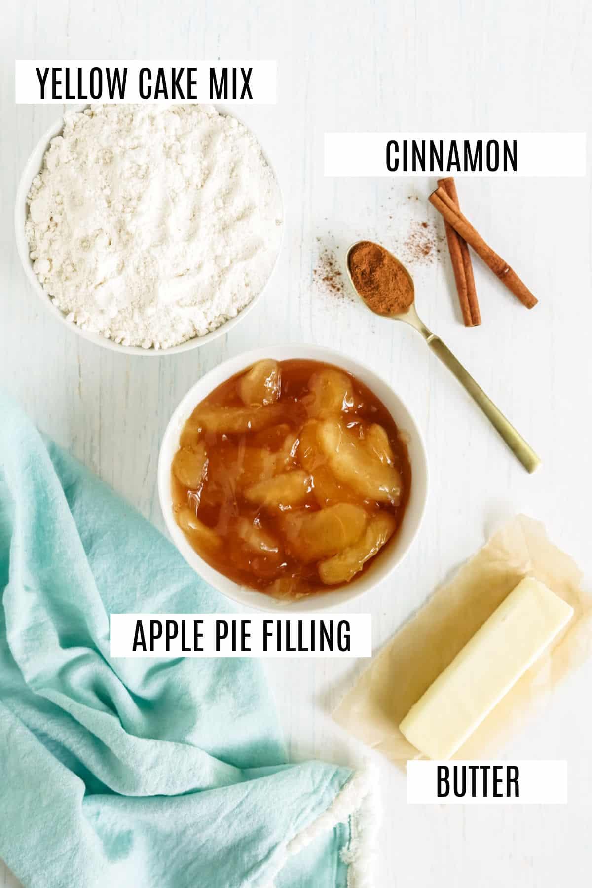 Ingredients needed for apple dump cake recipe.
