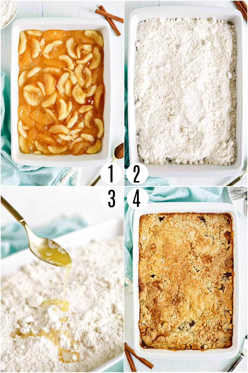 Step by step photos showing how to make apple dump cake.