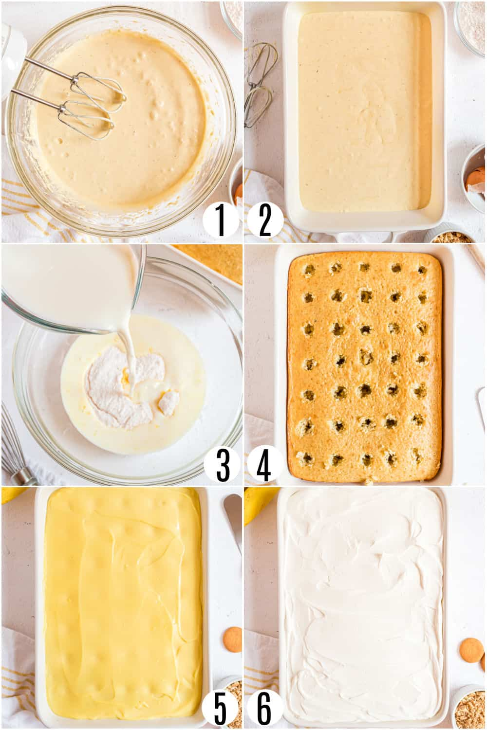 Step by step photos showing how to make banana pudding poke cake.
