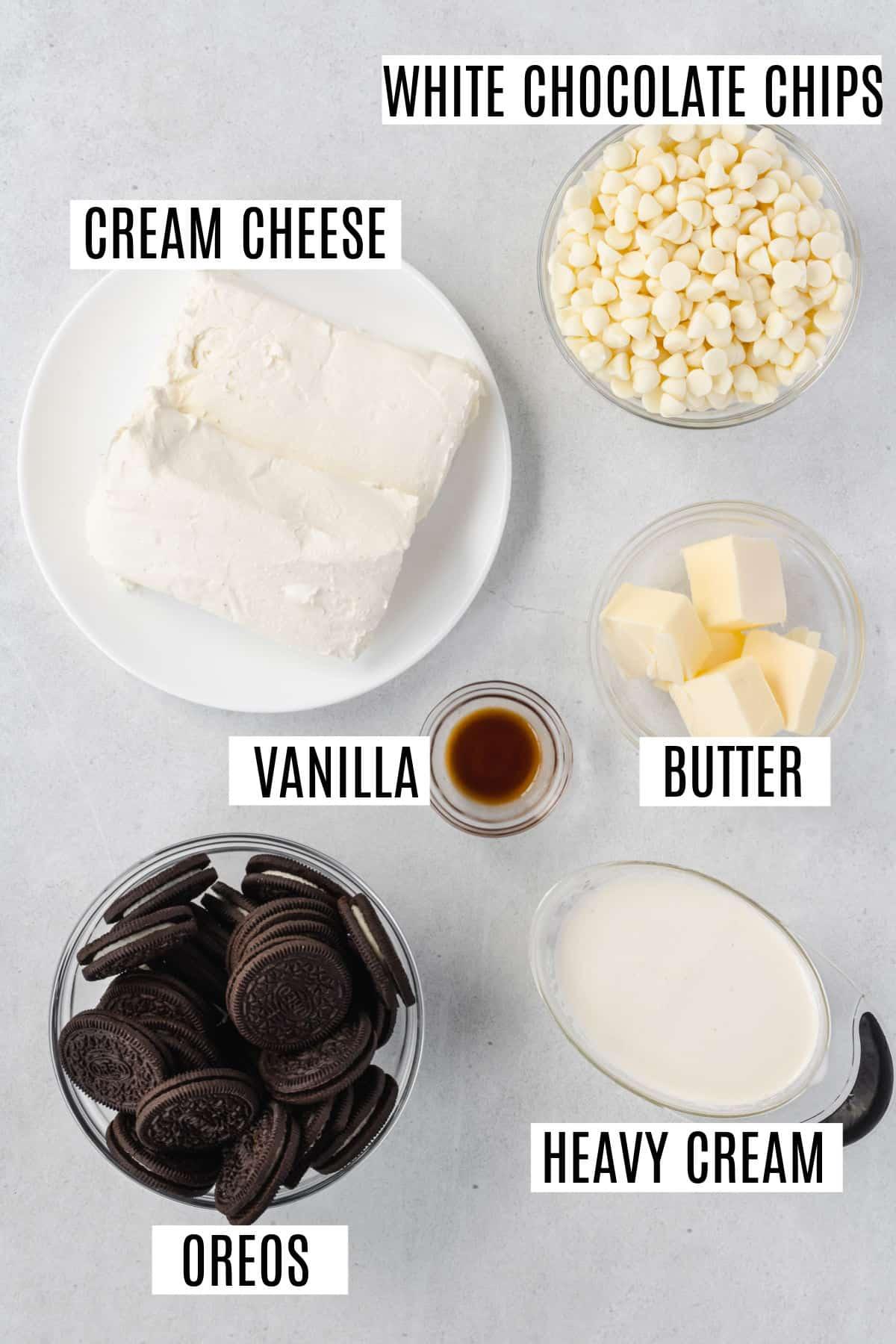 Ingredients for no bake mini cheesecake recipe.