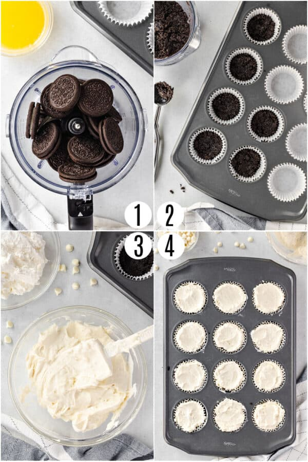 Step by step photos showing how to make no bake cheesecake in muffin tin.