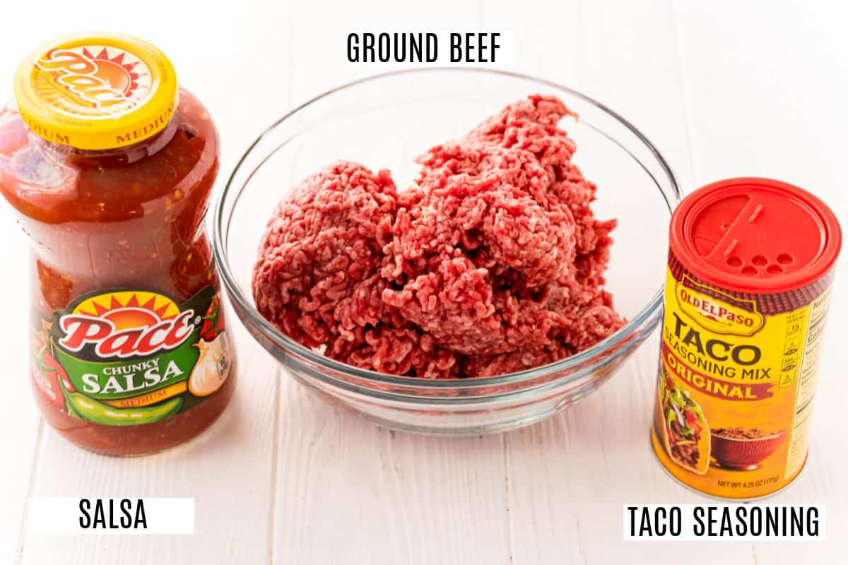 Three ingredients for slow cooker taco meat.
