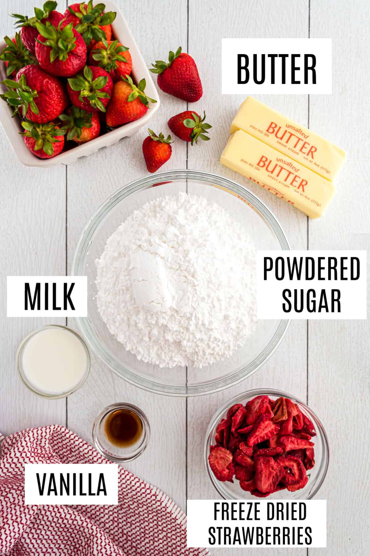 Ingredients needed for strawberry buttercream frosting.