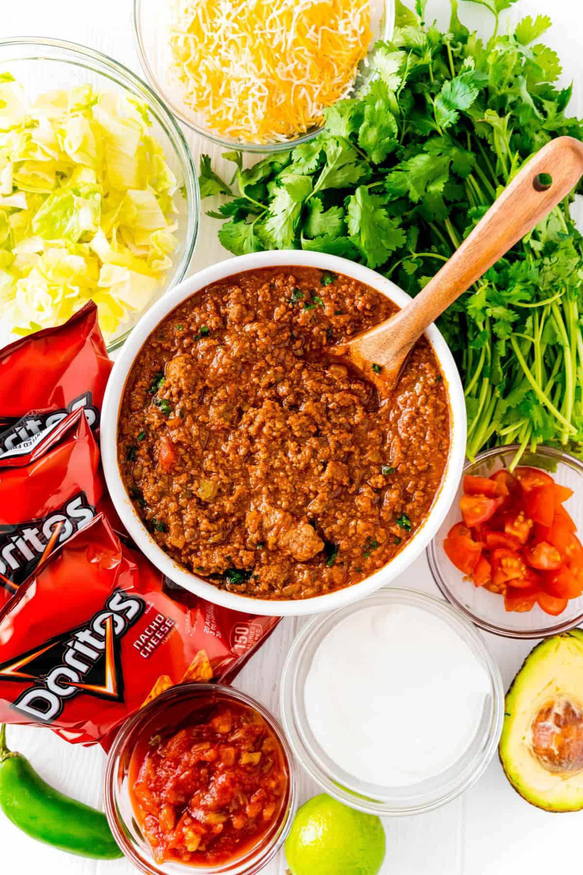 Ingredients needed for walking tacos.