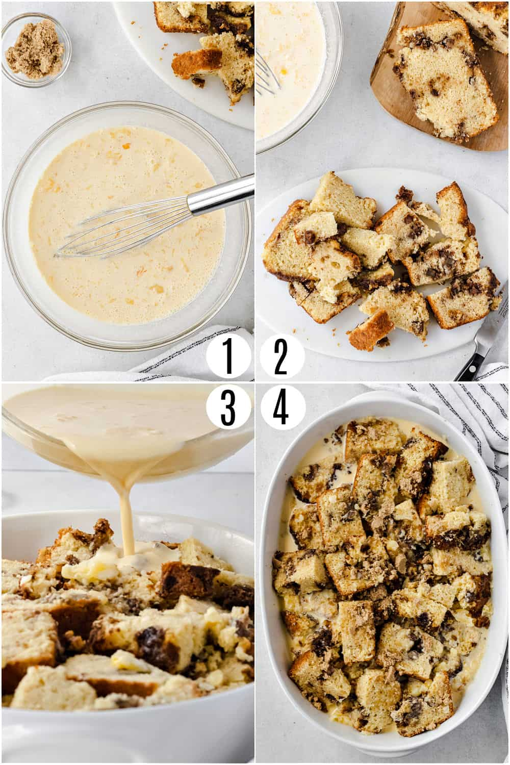Step by step photos showing how to make apple bread pudding.