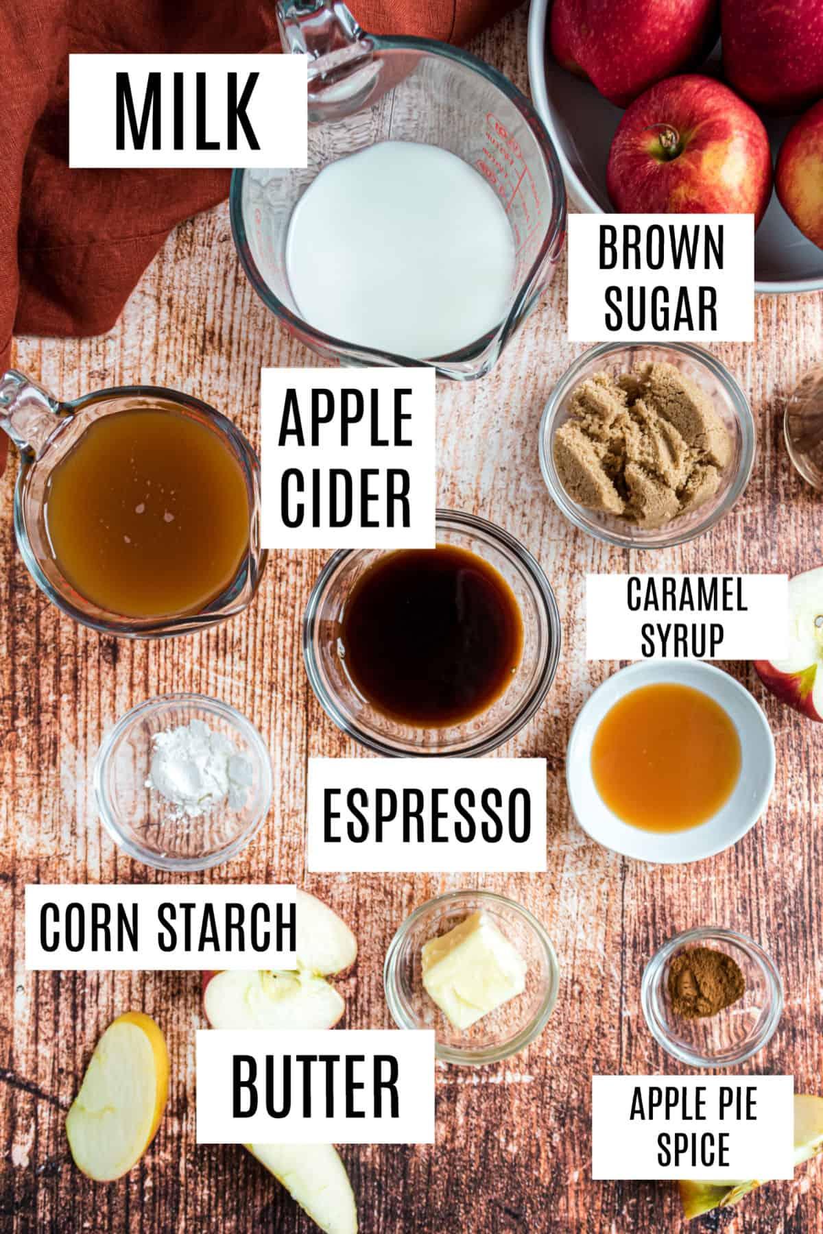Ingredients needed for homemade apple crisp macchiato recipe.