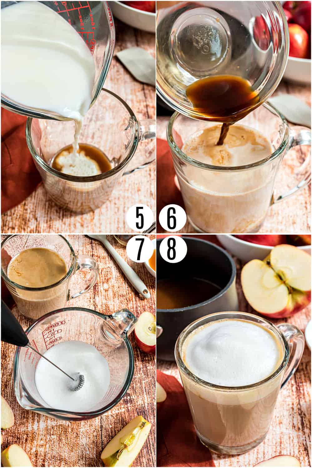 Step by step photos showing how to assemble an apple crisp macchiato drink.