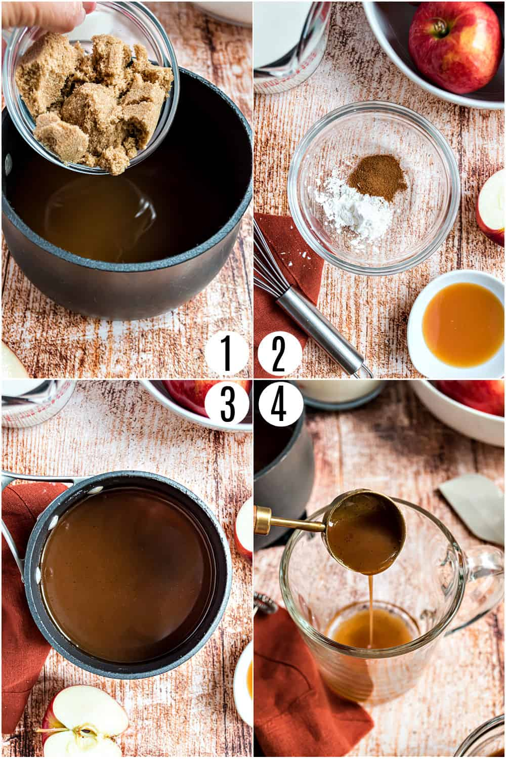 Step by step photos showing how to make apple cider syrup.