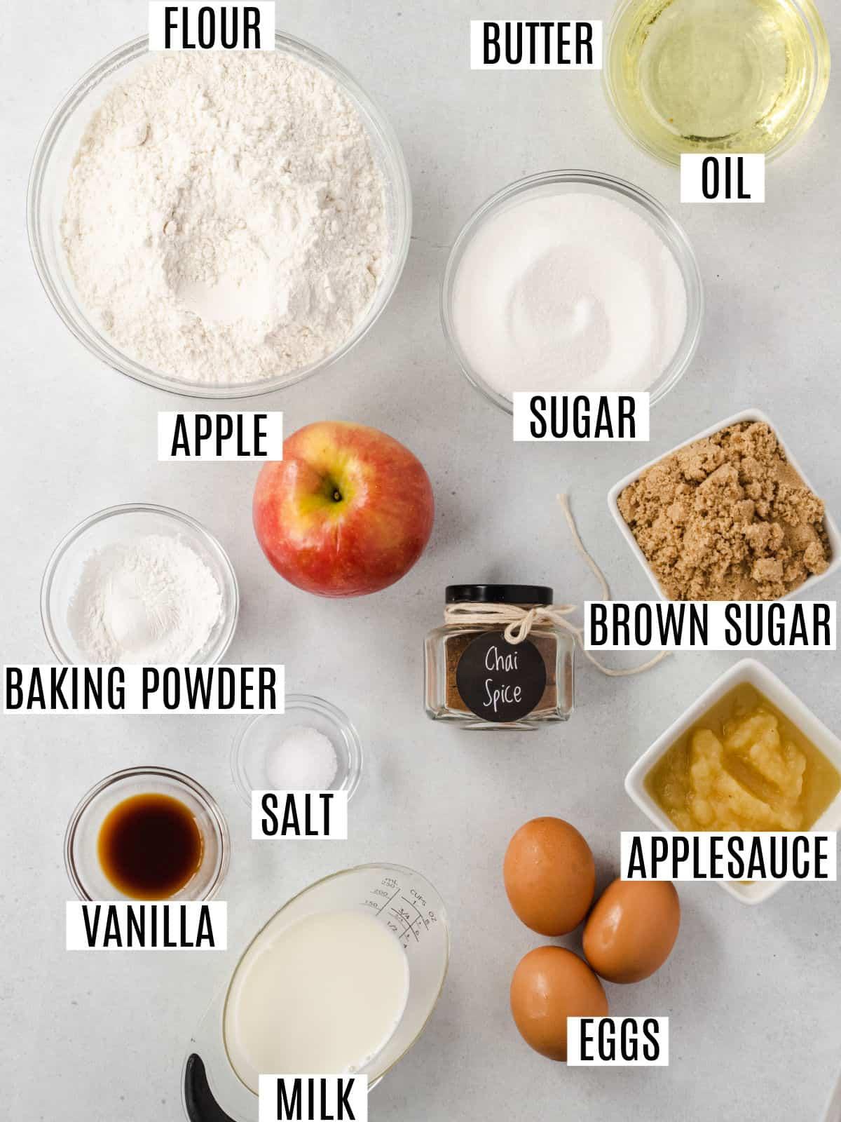 Chai apple bread ingredients.