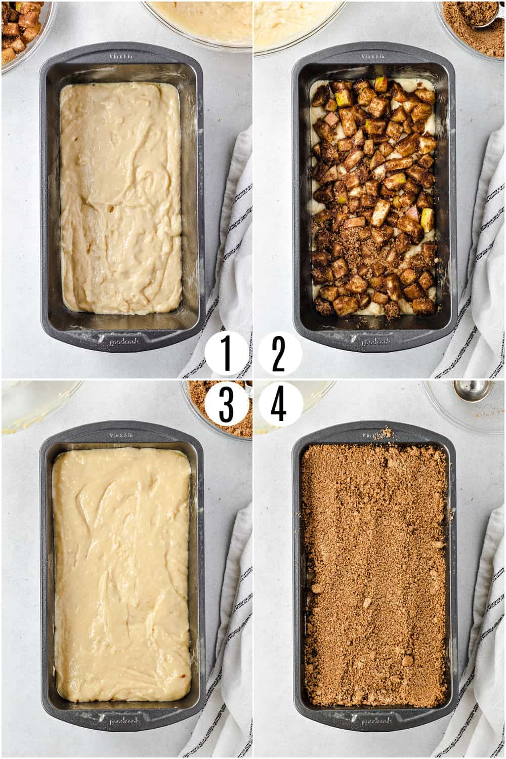 Step by step photos showing how to assemble apple chai bread.