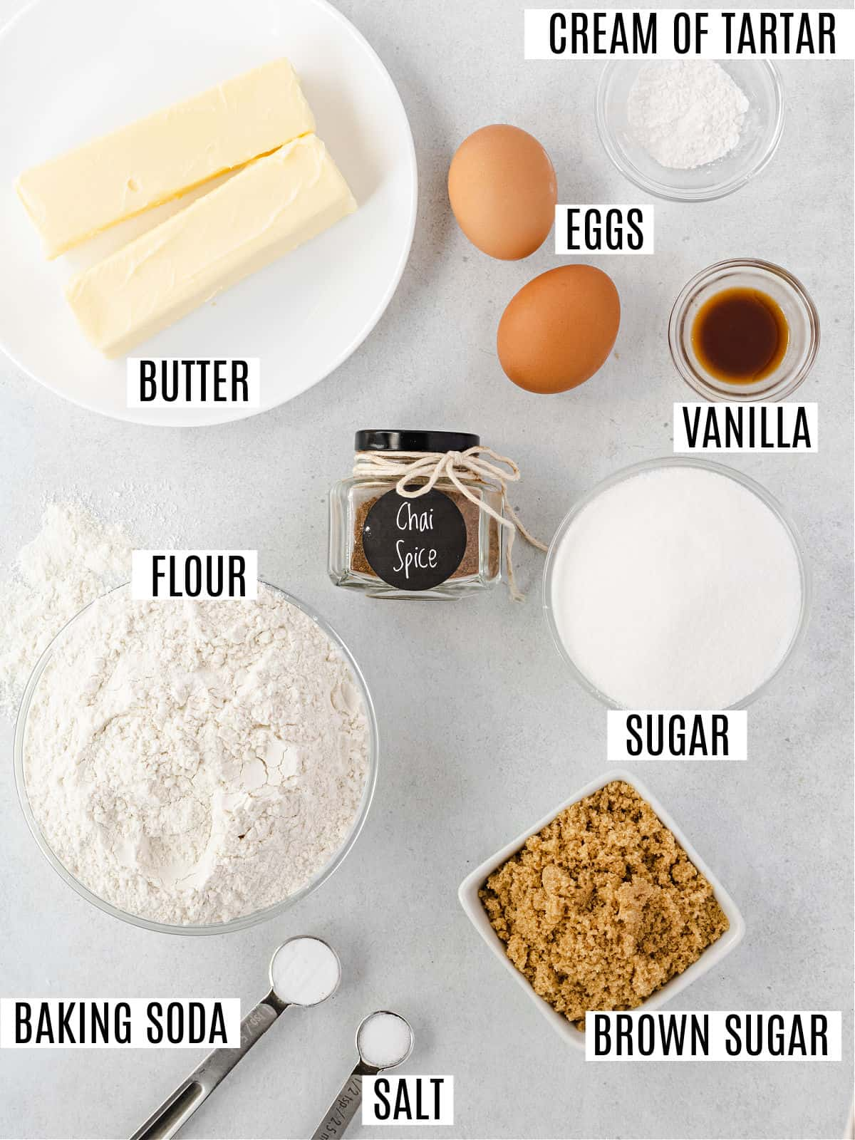 Ingredients for chai spiced cookies.