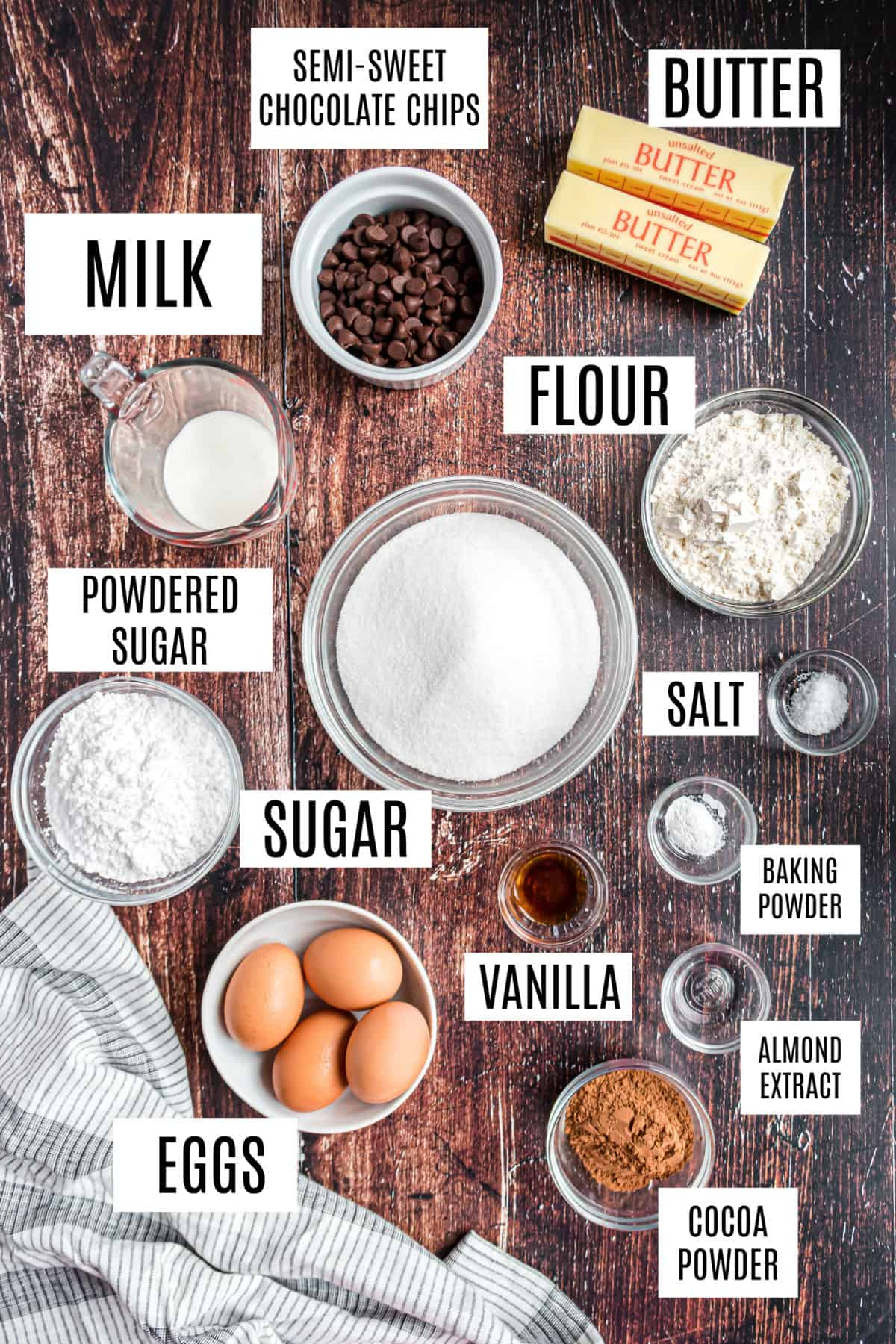 Ingredients for fudgy brownies from scratch.
