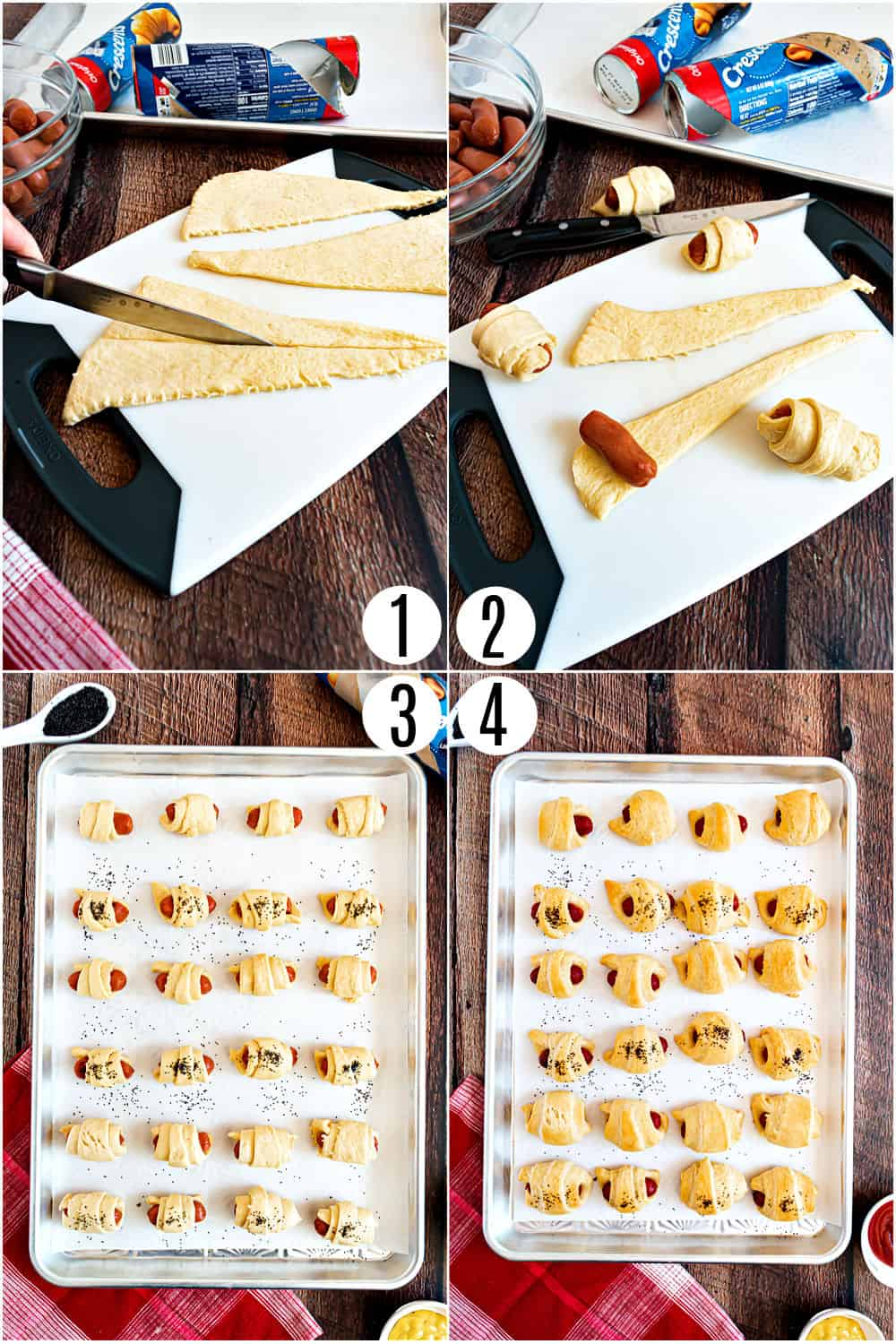 Step by step photos showing how to make pigs in a blanket.