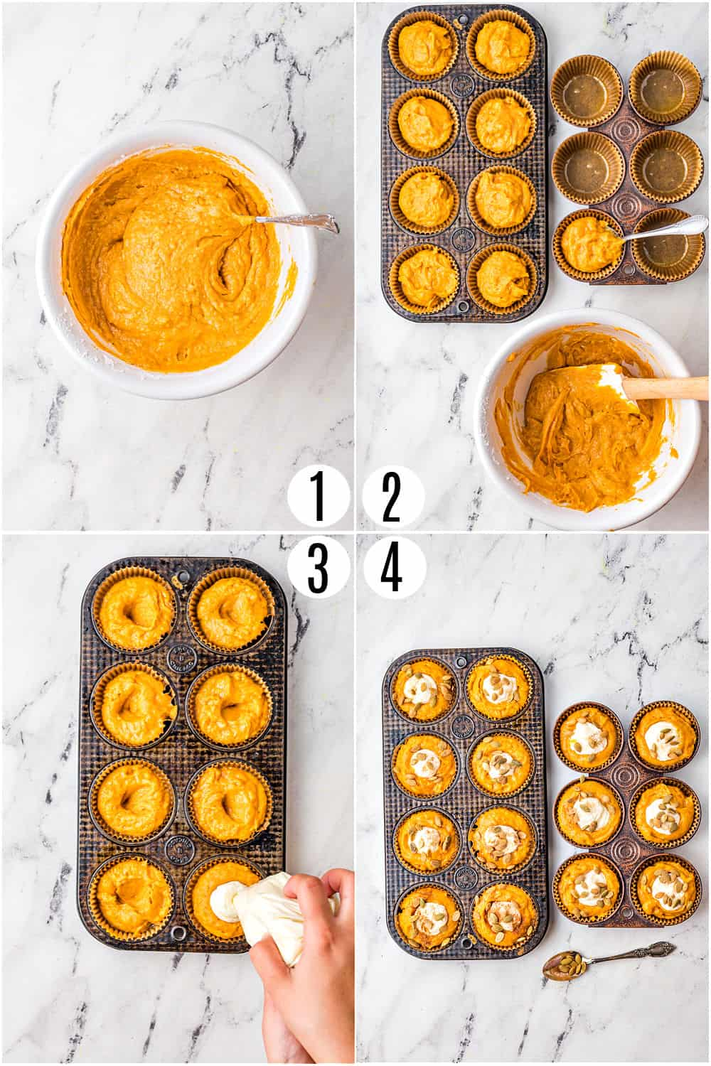 Step by step photos showing how to make cream cheese filled pumpkin muffins.