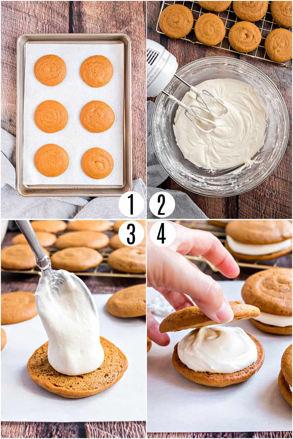 Step by step photos showing how to assemble pumpkin whoopie pies with cream cheese filling.