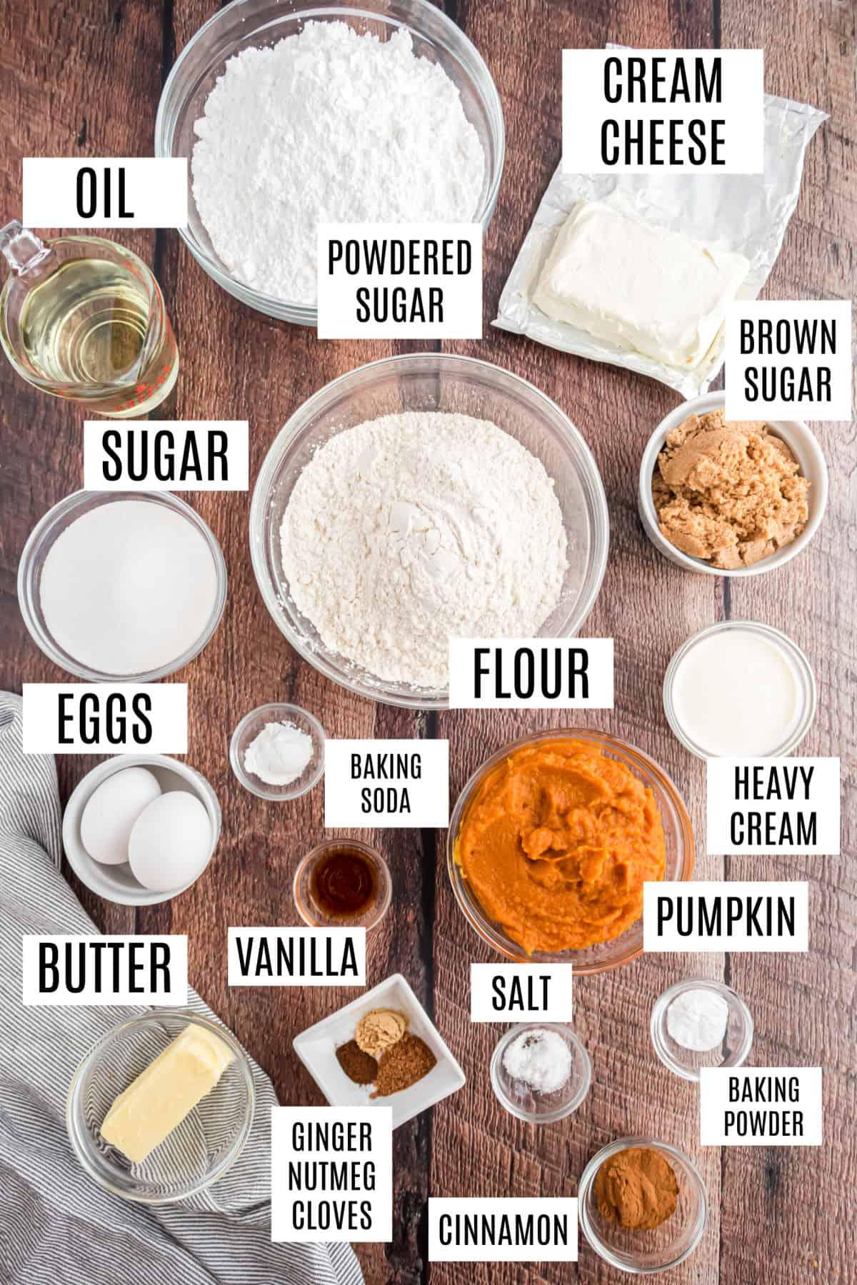 Ingredients needed for pumpkin whoopie pies.