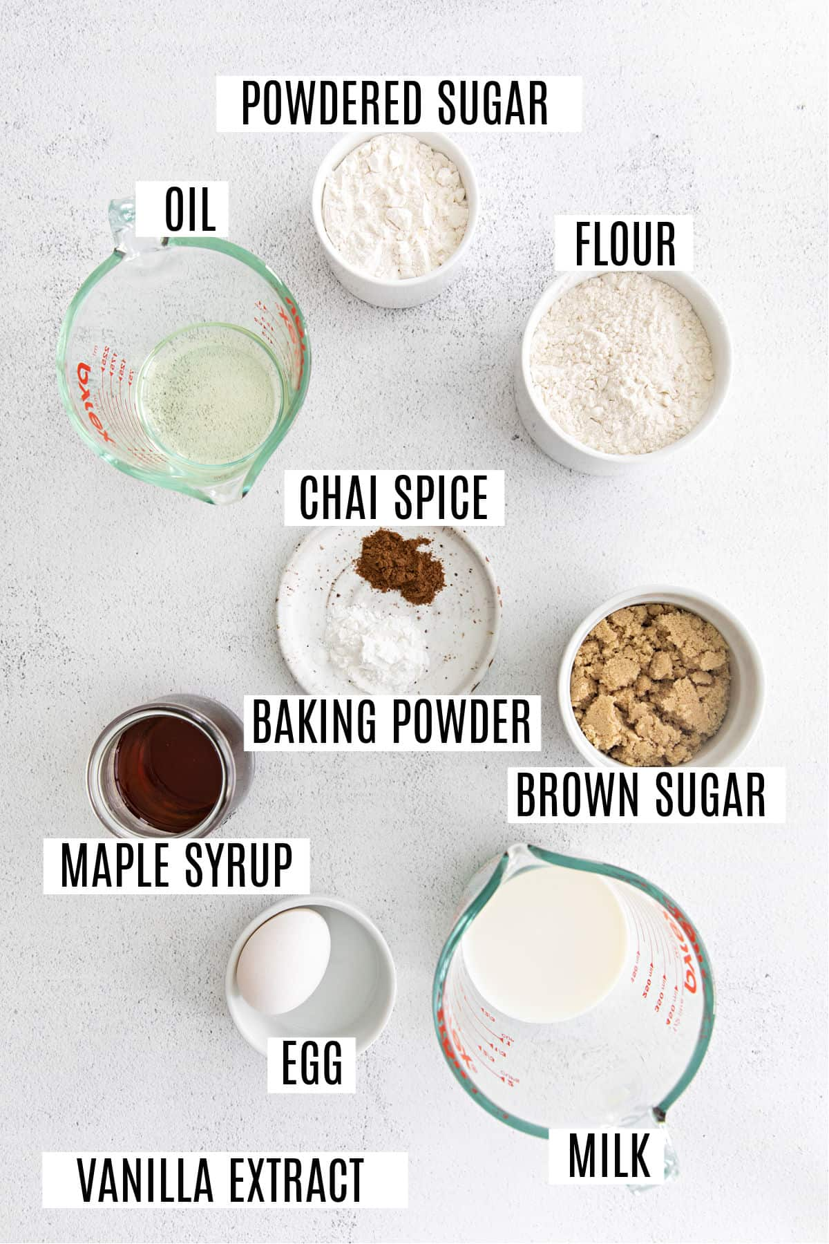 Ingredients needed to make chai donuts.