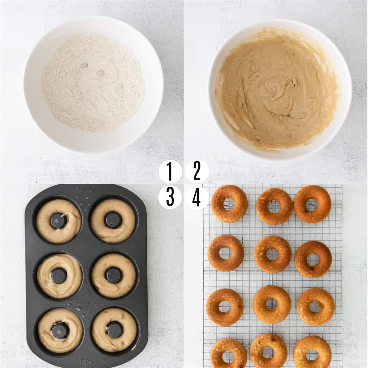 Step by step photos showing how to make chai donuts in the oven,