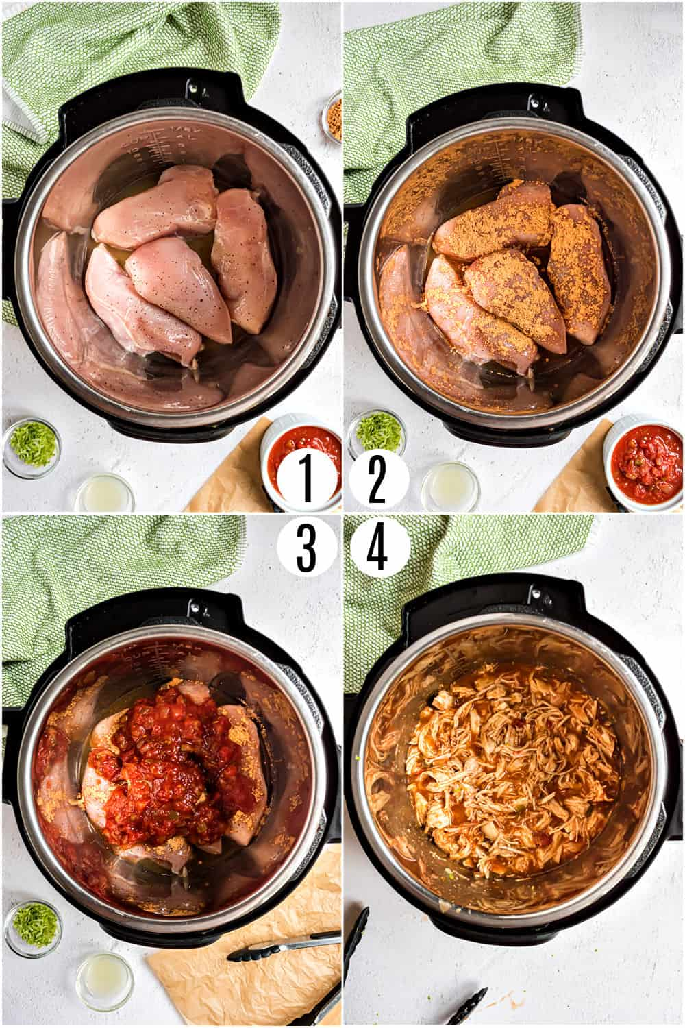 Step by step photos showing how to make Instant Pot Chicken tacos.